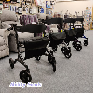 a wide range of colours are available for the fully height-adjustable zoom plus rollator